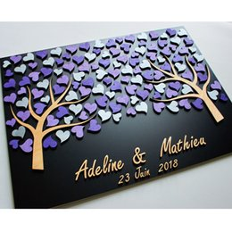 $enCountryForm.capitalKeyWord NZ - Personalized 3D Wedding Guest Book Tree,Custom Name Guestbooks Ideas, Unique Guest Book Alternative Wood,Purple Hearts Guestbook
