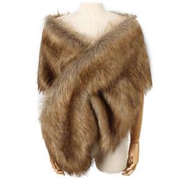 $enCountryForm.capitalKeyWord UK - Faux Fur Coat Women Ponchos And Capes Bridal Shawl Cape Fluffy Vest Coats Women Abrigo Mujer Fourrure New Winter Coats