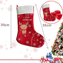880b2aa08 Christmas Decorations snowflake deer stocking gift bag candy apple bags  wrap long stockings socks red Festive Party Supplies WN486 500PC