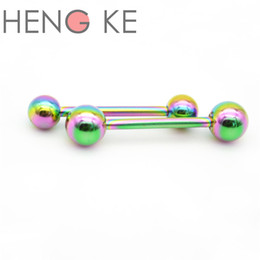 stainless steel straight barbells Australia - Rainbow Straight Barbell Tongue Bar Rings 316l Surgical Steel Titanium Body Piercing Jewelry Fashion Stud 14g 16mm Rock Punk Accessories