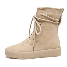 2ca762dd67dd0 Autumn Season Crepe Bottom men shoes Platform suede Military Boots Casual  Combat Boots hip hop Kanye West martin boots