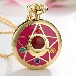 Discount black magic pendants - Lovely Quartz Pocket Watches Japan Anime Magic Girl Sakura Cartoon Star Cosplay Gold Pendant Necklace Fob Chain Women La