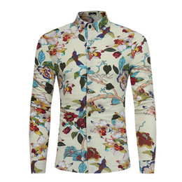 Wholesale tops dinner online – design Flower Birds Printed Tops Spring Wear Men Shirt Dinner Party Clothing Male Casual Blouse Long Sleeve Fashion Boy Shirts Vintage