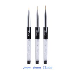 crystal liners UK - New 7 9 11mm Nail Brush BQAN Crystal Acrylic Nail Art Brushes UV Gel Painting Line Brush Nylon Pen Manicure Liner Tool