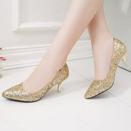 21e47917b331f3 Plus Size Woman Wedding Shoes High Heels Bling Women Bridal Shoes Silver  Dress Shoes Glitter Pumps Pointed Toe Ladies Shoe 67H88