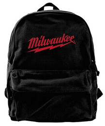$enCountryForm.capitalKeyWord Canada - Milwaukee Logo Canvas Shoulder Backpack Unique Hiking Backpack For Men & Women Teens College Travel Daypack Black