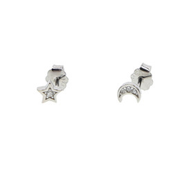 moon star studs Canada - 925 sterling silver dainty design delicate minimalist moon star studs multiple studs adorable girl silver earring