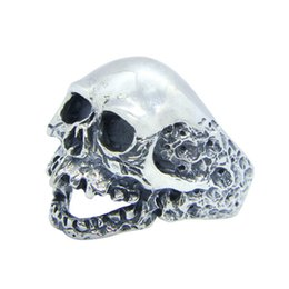 Men Size 15 Rings Australia - Free Shipping 925 Sterling Silver Walking Dead Skull Ring Fashion Jewelry Size 7-15 Men Boys Demon Skull Cool Ring