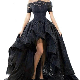 China Off Shoulder High Low Prom Dress Boat Neck Short Sleeve Lace Party Gown Short Front Long Back Evening Dress for Graduation cheap prom dress short front long train suppliers