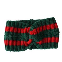 en grandes acciones Diseñador de lana Cruz Diadema Moda Marca de lujo Elástico verde rojo Turbante Hairband para mujeres Chica Retro Headwraps Regalos
