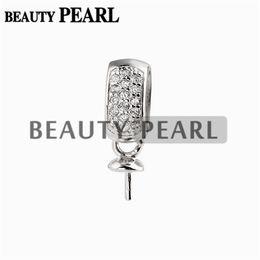 10 Stücke Runde Perle Montage Anhänger DIY Silber Erkenntnisse Kleine Charme Zirkone 925 Sterling Silber Schmuckherstellung im Angebot