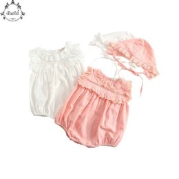 Little Hats Australia - Summer Kids Clothes Little Girls Bodysuit Set Lace Trim Girls Outfit 2pcs Kids Clothes Baby Bodysuit with Hat Cute Baby Clothes