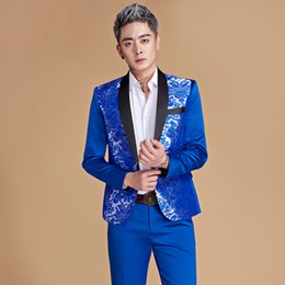 83df675635 (jacket+pants)printing men clothing suit male wedding groom red sets studio  shooting spring wear host stage costumes singer dancer show part