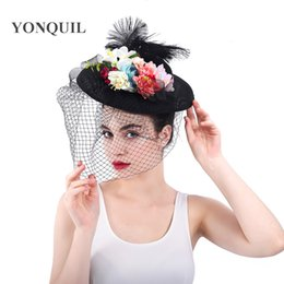 Wholesale Vintage Imitation Sinamay Fascinator Hat for Grand National Kentucky Derby chapeau Cap Women Hair Accessories party hat SYF320
