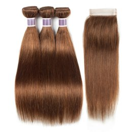 $enCountryForm.capitalKeyWord UK - Pre-Colored Brazilian Virgin Hair #30 Medium Auburn 3 Bundles with 4x4 Lace Closure Silky Straight Human Hair Weaves Colored Hair Extensions