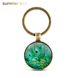unique keychain design 2020 - New Design Crystal Keychain Unique Art Peacock Wiggling Feather Key Holder Handmade Animal Pattern Keyring For Women Gir