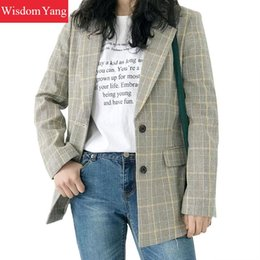 $enCountryForm.capitalKeyWord Canada - EleGray Khaki Plaid Jacket Linen Womens Suit Coats Autumn Warm 2018 Female Jackets Overcoat Cotton Coat Office Outerwear