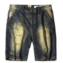 6f7804a0672 Newsosoo Модные мужские винтажные рваные короткие джинсы Hi Street Ретро  рваные джинсовые шорты для мужского белья