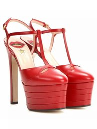Lips Sandals UK - thick bottom high-heeled sandals word 16cm with high fashion sandals 4.5cm water table color super sexy red lips rivets high-heeled sandals