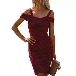 Strapless Strap Australia - Women Off Shoulder Spaghetti Strap Dress Sexy Strapless 2019 Spring Summer Ladies Backless Slim Bodycon Dresses Vestido