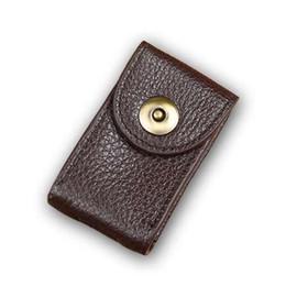 Vintage Car Prints NZ - Men Waist Belt Hanging Mini Bag Soft Genuine Leather Car Key Wallet with Buckle Brown Coffee Color, Hand Made Vintage