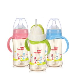 Wholesale 240ml ml food grade bpa free infant kids milk water bottles wide mouth ppsu baby feeding bottle with handle