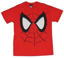 Опт Человек-паук мужская футболка-красная маска крупным планом печатных футболка мужская с коротким рукавом О-образным вырезом футболки лето стри Twear