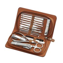 best nail art set 2019 - 18 In 1 Manicure Set Professional Nail Clipper Set Finger Plier Nails Art Beauty Tools Scissors Knife Best Gift Nt43 che