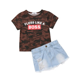 jeans shorts shirt girls NZ - 1-6Y Fashion Toddler Kids Baby Girl Short Sleeve Camouflage T-shirt Tops Ripped Denim Skirt Jeans 2PCS Clothing Set