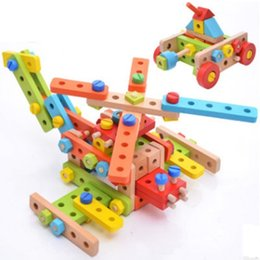 Discount combination toy nut - Wood Model Magicaf Nut Combination of Building Blocks Child Assembling Toys Disassembly Puzzle Belt Tools Educational To