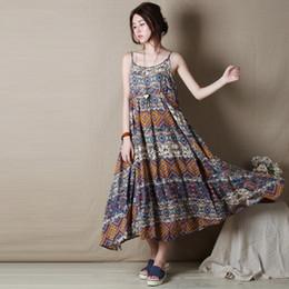 f99b01b5a343 Women Print Dress 2019 Sleeveless Casual Sweet Cotton Linen Mori Girl Women  Clothes Dress Long Loose Vintage Vestidos