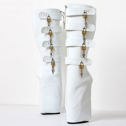 hoof boots Canada - Free DHL New BDSM Man Ballet Boots 18cm Super High Heel Wedges Pony Hoof Sexy Fetish Slave 8keys Lockable Knee Boots for Exotic