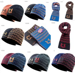 Brand U A Beanie Scarf Set Reversible Hats Scarves Under Warm Skull Cap  Neckerchief Knitted Striped Hat Armor Neck Gaiter Fleece Cap Scarces 4f7186beec3