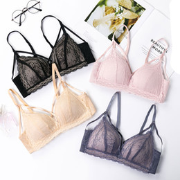 Hollow out Sexy Lace Lingerie Simple Comfortable Thin Cotton Cup Underwear  Bra Set Section Bralette Triangle cup bras panties ab89e6c24