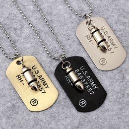Мужская Пуля голова Ожерелья 3 цвета США армия Военная карта Шарм Бисера цепи Для женщин Рэппер Хип-Хоп Ювелирные Изделия
