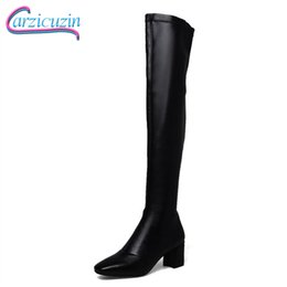 Discount blue stretch over knee boots - CarziCuzin Women Winter Over Knee Boots Genuine Leather Thick High Heels Stretch Boots Square Toe Warm Shoes Women Size