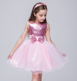 girls white sequin tutu UK - Baby Girl Dresses Sequins Flower Princess Dresses Bow 2018 Party Wedding Dress Host Piano Costume Ball Gowns TuTu Skirt Girls Clothes 313