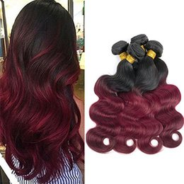 99j Hair Extensions 24 Australia - Brazilian Ombre Hair 1B 99J Body Wave 4 Bundles Unprocessed Grade 8A Burgundy Wine Red Ombre Human Hair Weaves Extensions Length 10-24 Inch