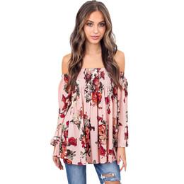 fb58a764242055 Women Off the Shoulder Bohemia Blouse Retro Floral Print Beach Boho Blusa  Feminina Tops XXXL Plus Size Summer Shirt Top Pink