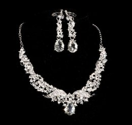 two ball hair Australia - Bridal alloy diamond necklace earrings two knot wedding accessories accessories