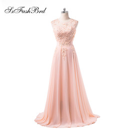 black girls elegant prom dresses UK - Girls Dress Elegant Sexy O Neck With Appliques A Line Chiffon Pink Long Party Formal Evening Dresses for Women Prom Dress Gowns