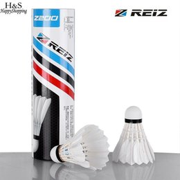 Level Ball NZ - Badminton White With Box Shuttlecocks REIZ Z200 Ball Portable Training A Level Feather 6pcs set Training Badminton Duck