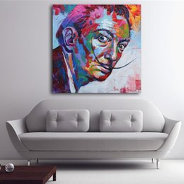 Painting Faces Australia - Salvador Dali Graffiti Pop Art Oil Painting Face Portrait Print Wall Painting and Posters For Living room Home Decoration
