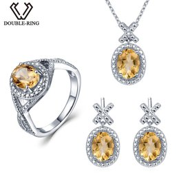 r bracelet 2019 - Double-R Natural Diamond Bridal Jewelry Sets Women 4.1 ct Real Citrine Ring earring Pendant Necklace 925 Silver Wedding
