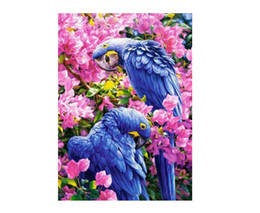 Diamond Paintings Tools NZ - Diamond Embroidered Flowers With Two Parrots Cross Stitch DIY 5D Full Diamond Paintings Home Decorations 2018