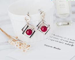 ea6b0a474340 Moda coreana geométrica pendientes de perno prisionero con perla cereza salvaje  pendientes joyería modelo n. ° NE888