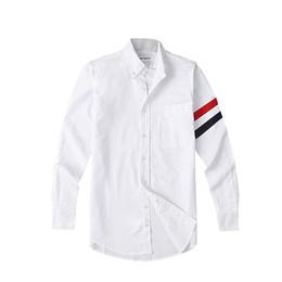$enCountryForm.capitalKeyWord NZ - New mens designer t shirt TB classic double sleeve Tri Color Ribbon fashion long sleeved shirt THOM tshirt browne Sweatshirt for man