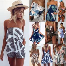 05d43d409b VITIANA Women Plus size Off Shoulder Print Beach Jumpsuit Romper Sleeveless Short  Overalls Sexy Backless Summer Playsuit Y1890303