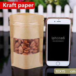 heat seals 2018 - 10x15cm Stand Kraft Paper Window Frosted Showcase Packaging Food Bags Heat Sealing Zip Lock Reusable Baking Candy Snacks