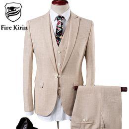$enCountryForm.capitalKeyWord Canada - Fire Kirin Linen Suits Men 2017 Slim Fit 3 Piece Wedding Suits For Men Beige Blue Tuxedo Jacket Brand Mens Formal Suit Q342